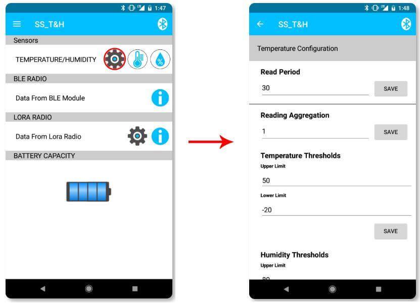 Sentrius Sensor App Step 2.1 - Behavior Settings