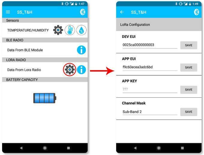 Sentrius Sensor App Step 2.3 - LoRa Configuration