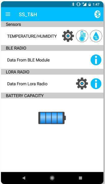 Sentrius Sensor App Step 4 - Main Menu