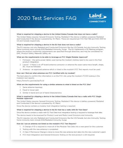 2020 EMC Test Services FAQ