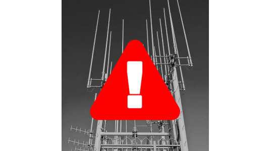 Antenna with Warning Sign